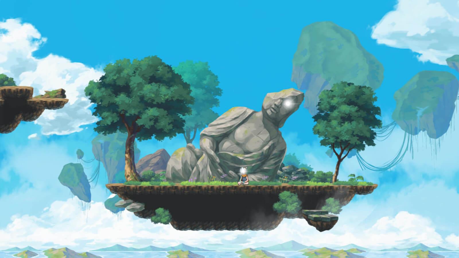 Broken statue on a floating island