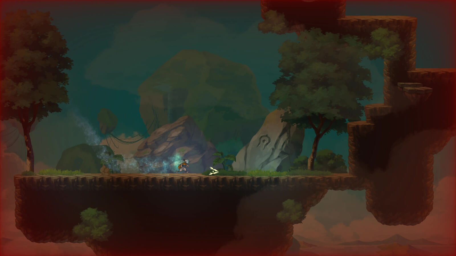 Player character runs across an island in the sky