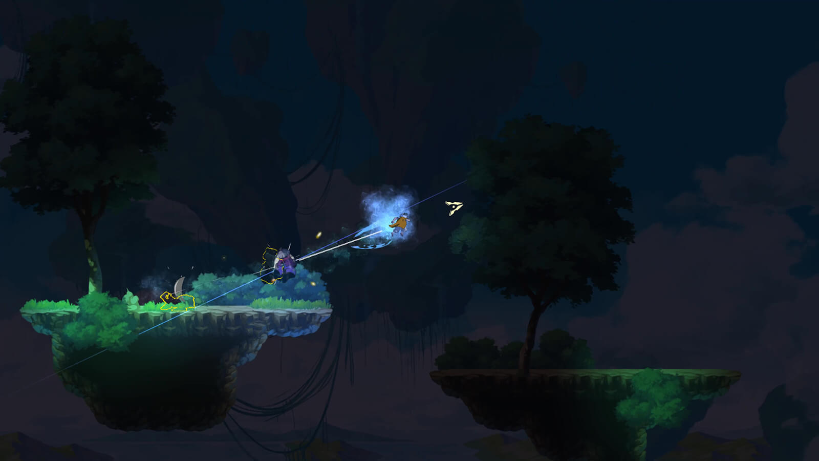 Player character air dashes through a robed enemy