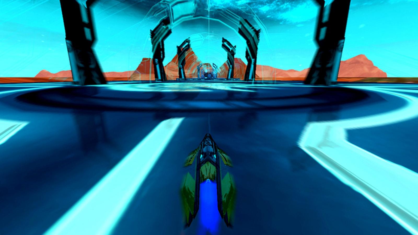A spacecraft zooms through a blue alien construct.