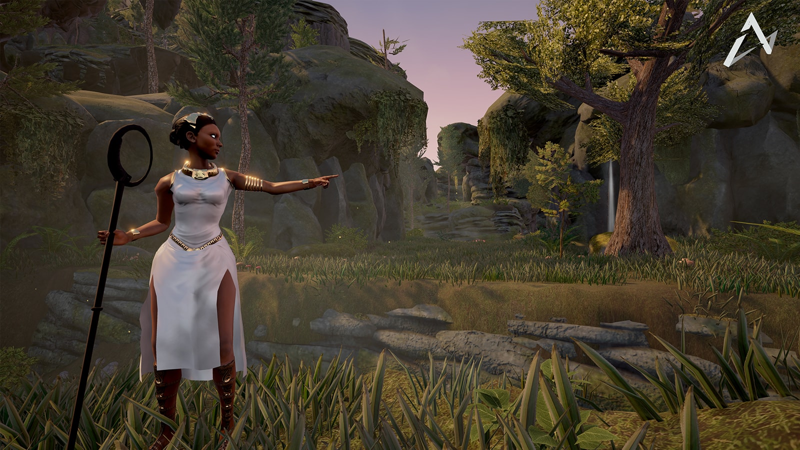 A woman wearing a flowing white dress with golden jewelry holds a staff and points down a sylvan pathway.