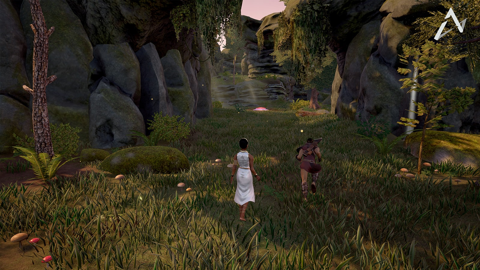 A woman in a white dress follows behind Orion as he begins to run down a sylvan pathway.