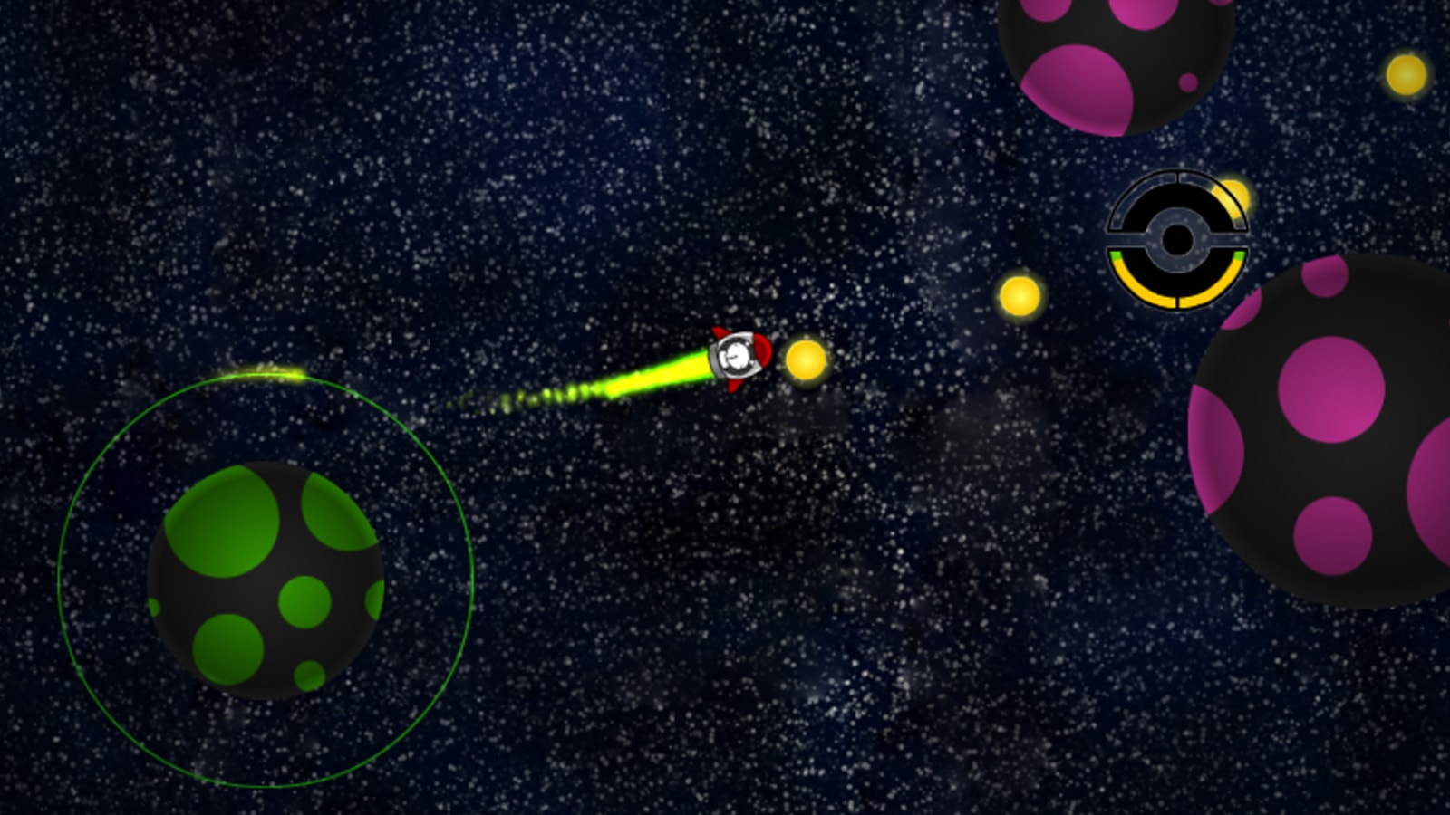 "A rabbit in a spaceship exits the orbit of a green planet, collecting ""happy orbs"" along the way."