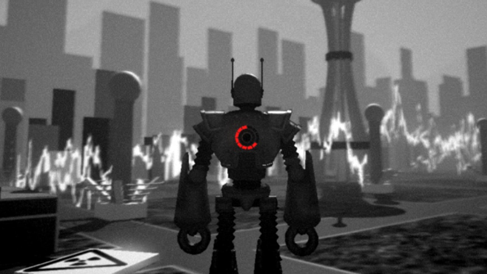 The backside of a large robot with two claw-like hands and a red light-up meter on it.