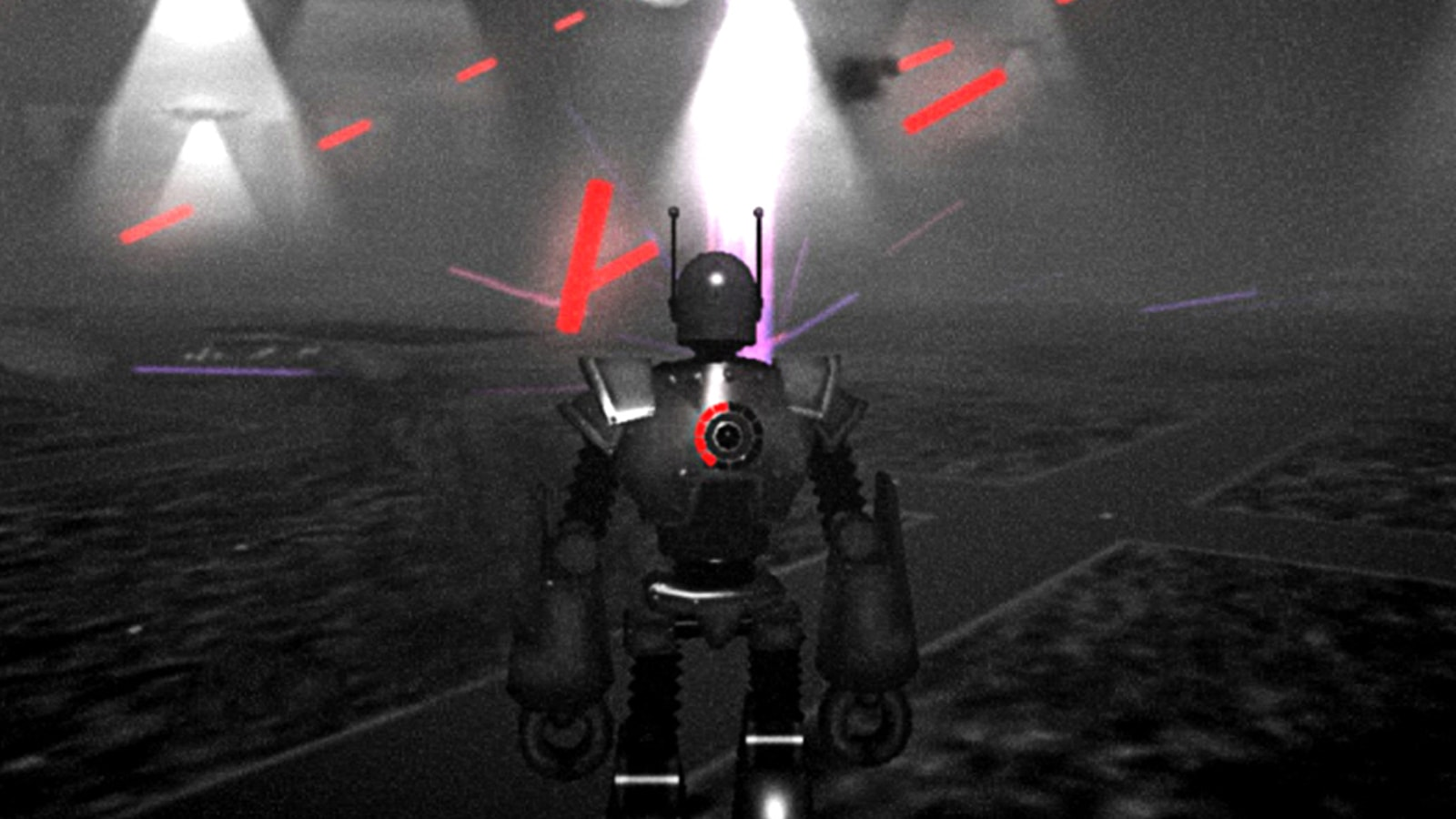 The backside of a large robot, red laser beams firing in the distance.