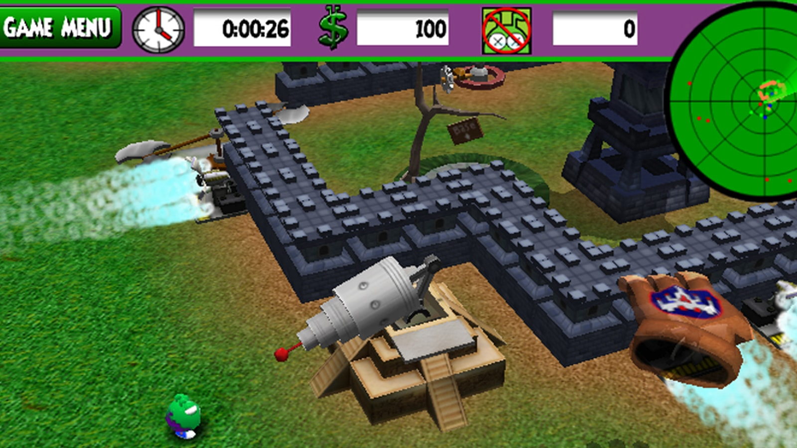 A ray gun atop a ziggurat points at a green invader, a spinning axe device in the background.
