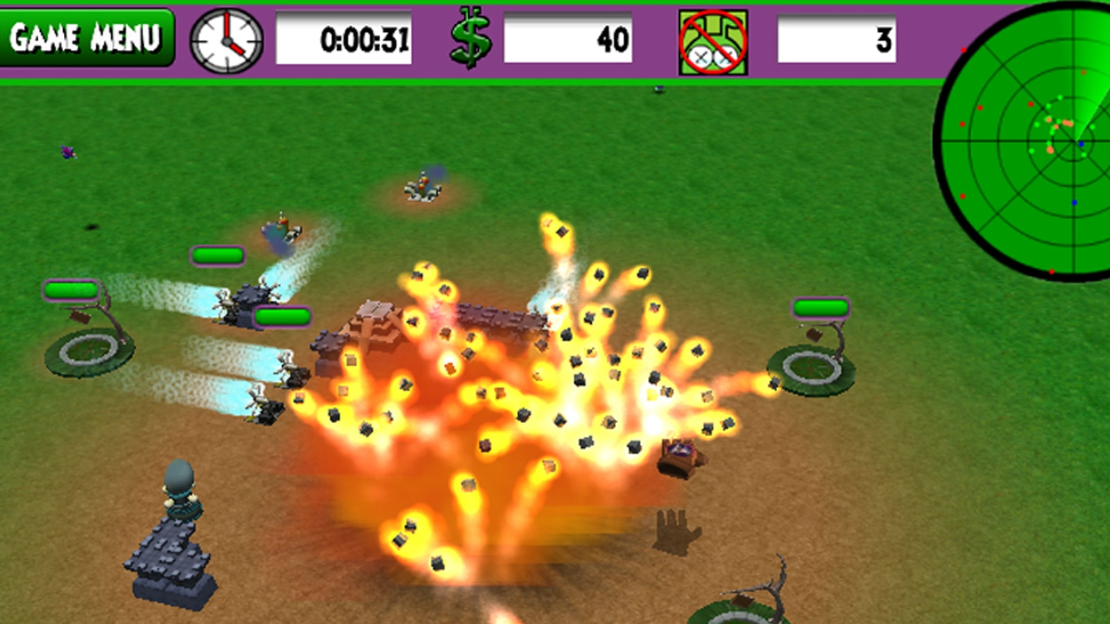 An explosion erupts in the middle of the green battlefield.