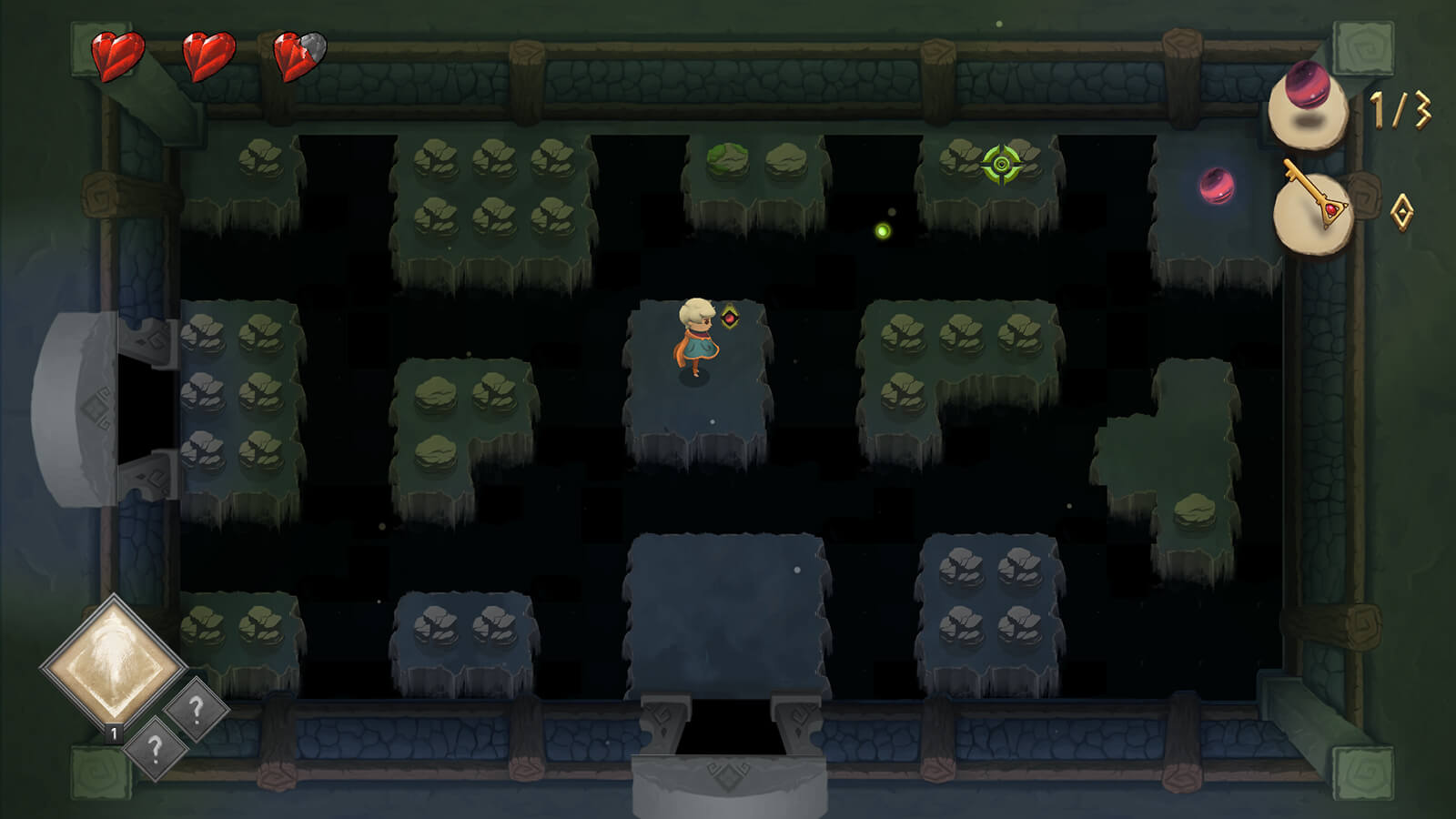 A young robed adventurer stands in a dungeon room full of floating platforms covered in rocks.