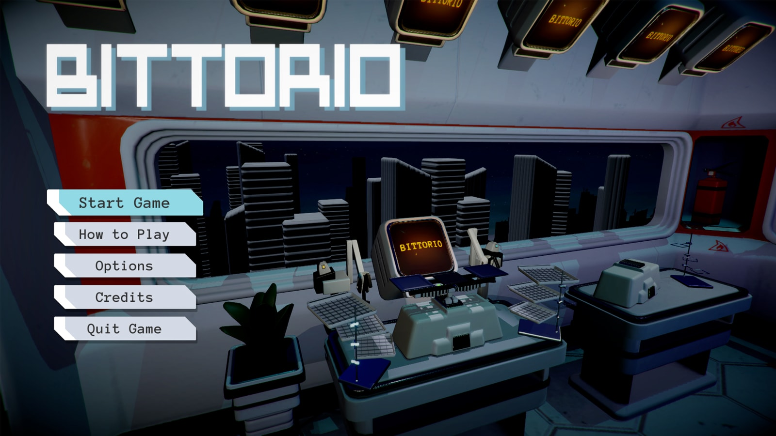 "A computer with the word ""BITTORIO"" on it, surrounded by two robot arms and a series of gridded trays, menu to the left."
