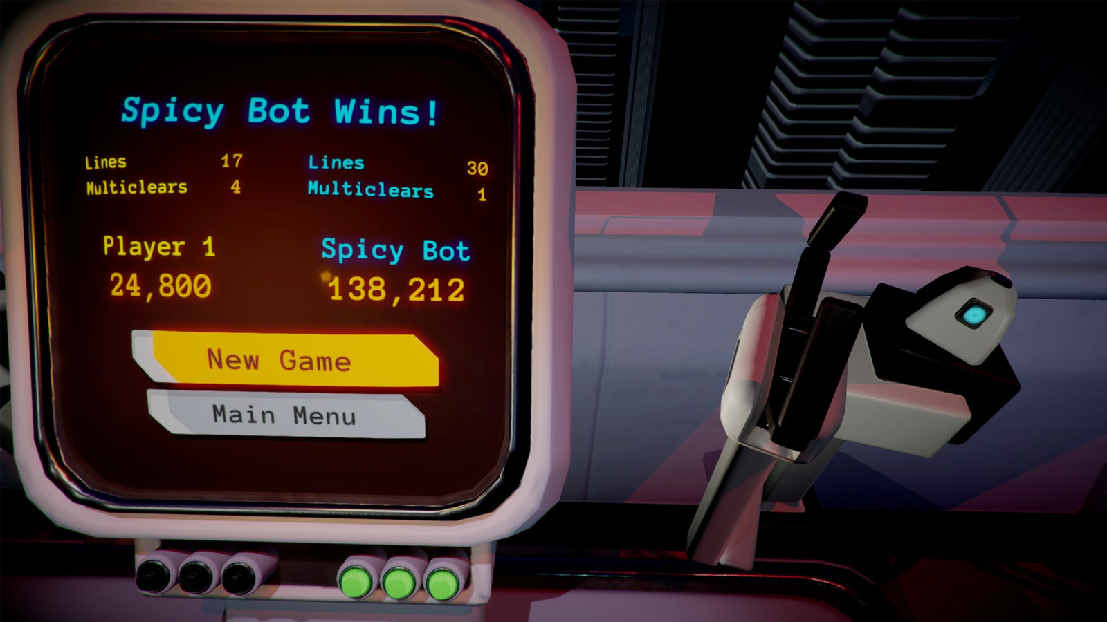 "A computer screen says ""Spicy Bot Wins!"" with a ""New Game"" or ""Main Menu"" selection option."
