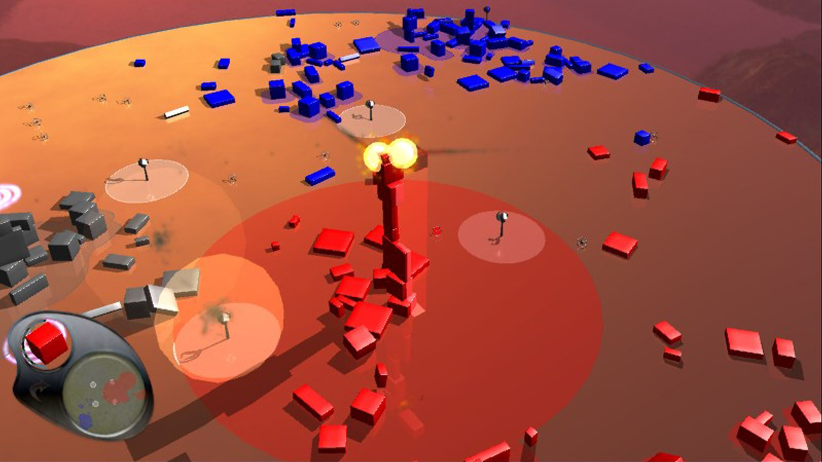 An explosion erupts at the top of a stack of red shapes.