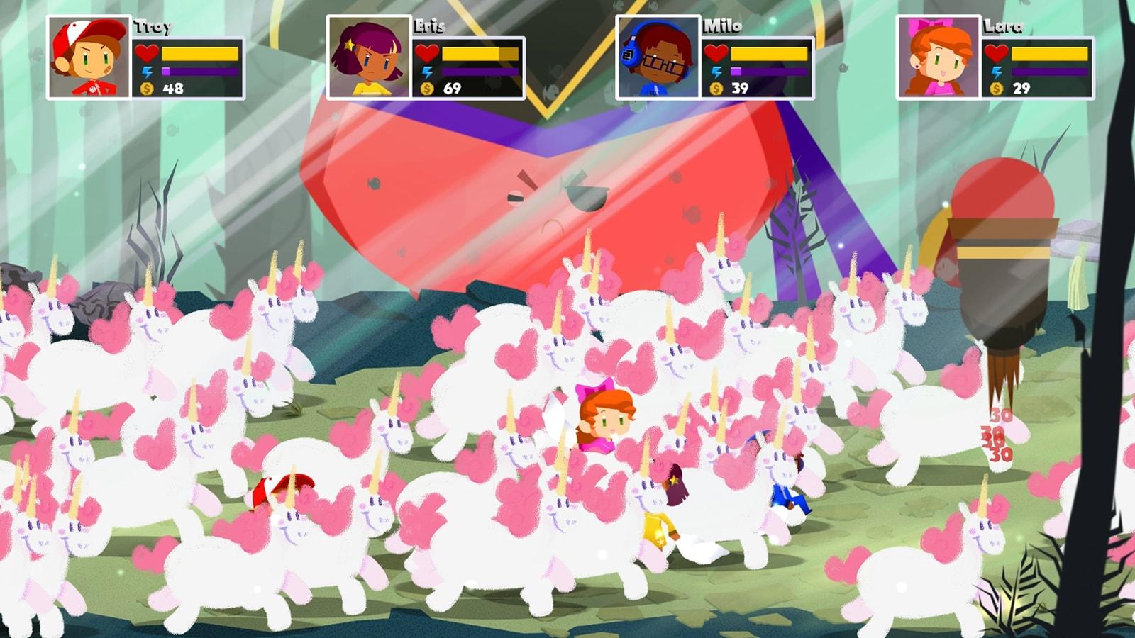 A herd of cute unicorns envelops Book of Dreams' main characters.
