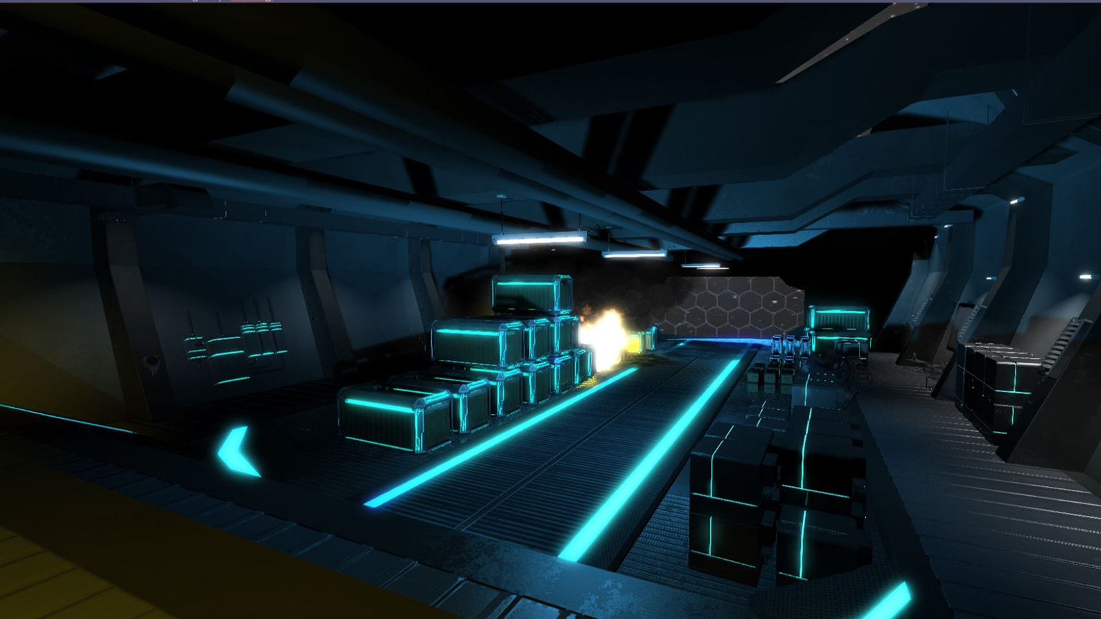 An explosion behind a stack of glowing crates in a futuristic storage room.