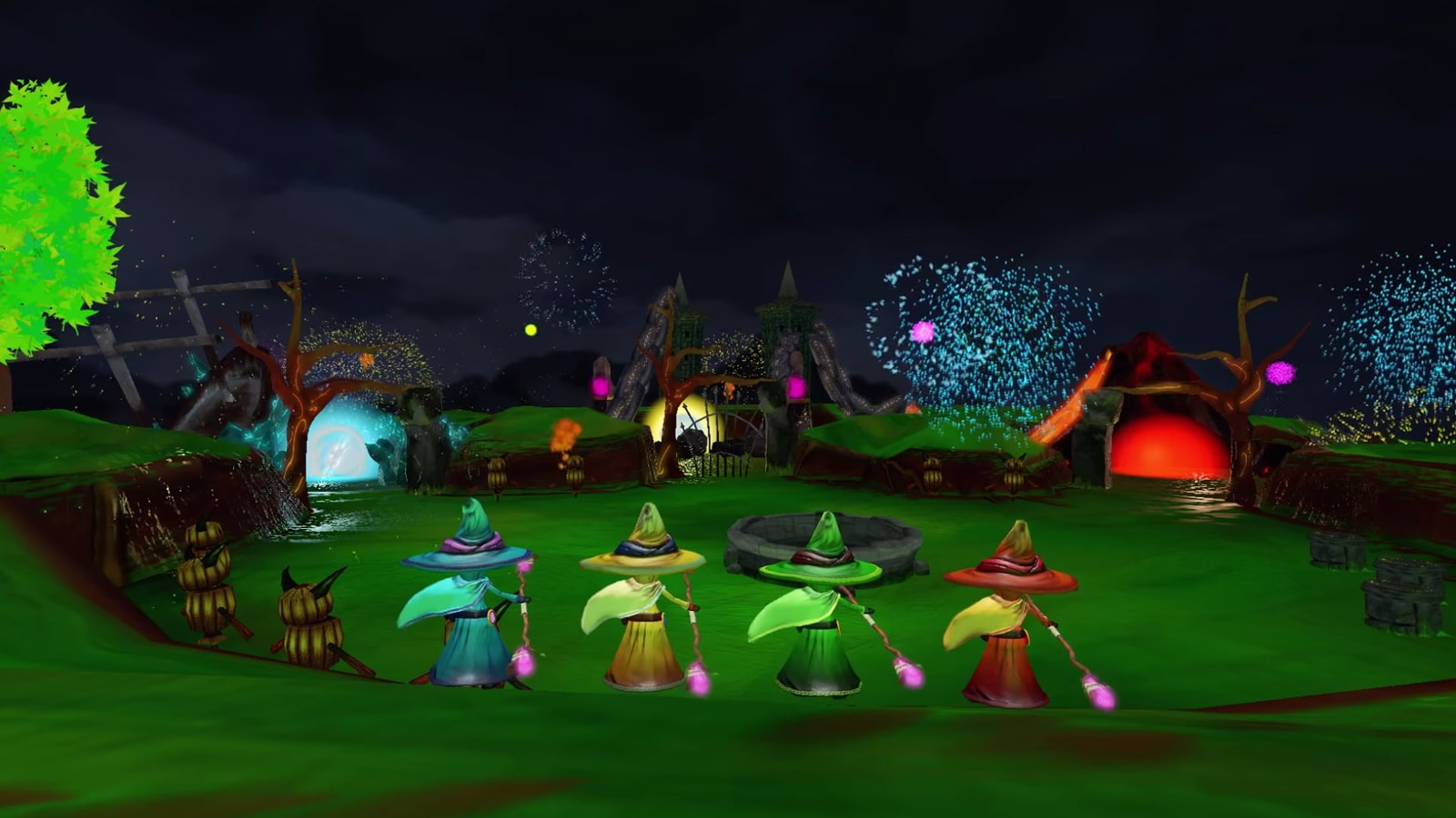A blue, yellow, green and red wizard stand in a green field as fireworks go off in the distance.