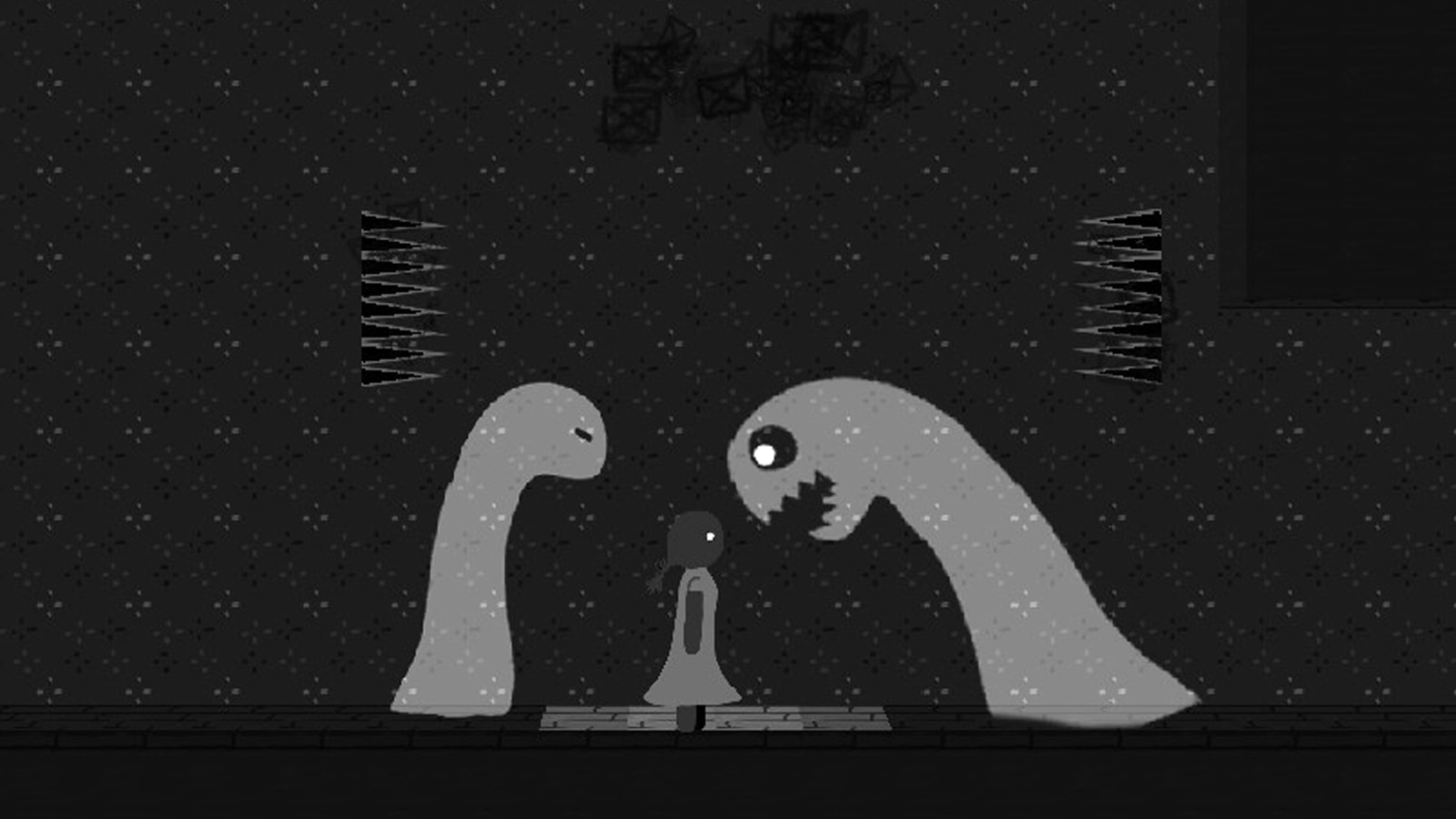 Two grey monsters surround a girl, one behind her, one baring its teeth in front of her.