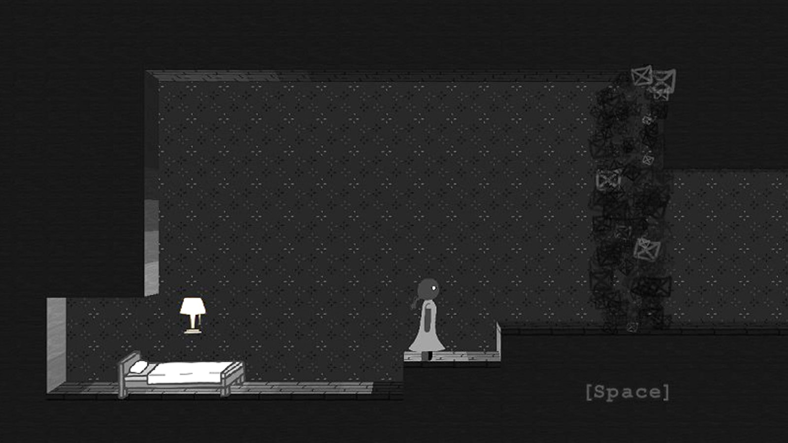 A girl stands in the middle of a creepy grey bedroom with a smoky black field blocking the way forward.
