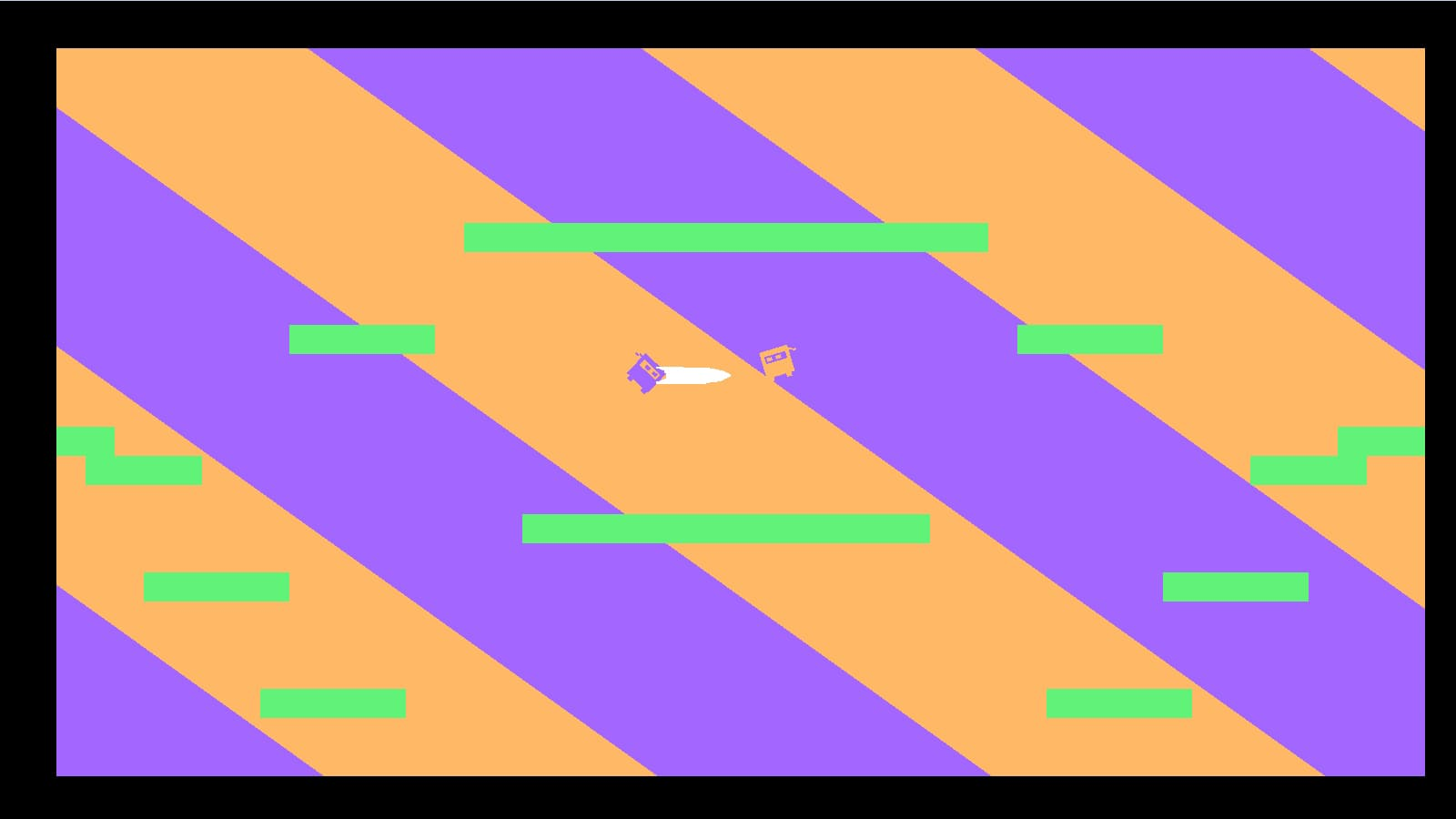 Two square purple and orange ninjas fight each other against a striped purple and orange background.