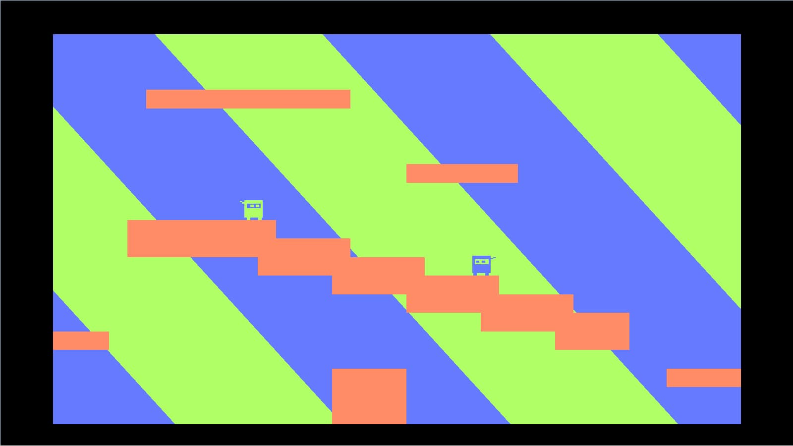 Two square green and blue ninjas face each other on a peach colored zig-zagging platform.