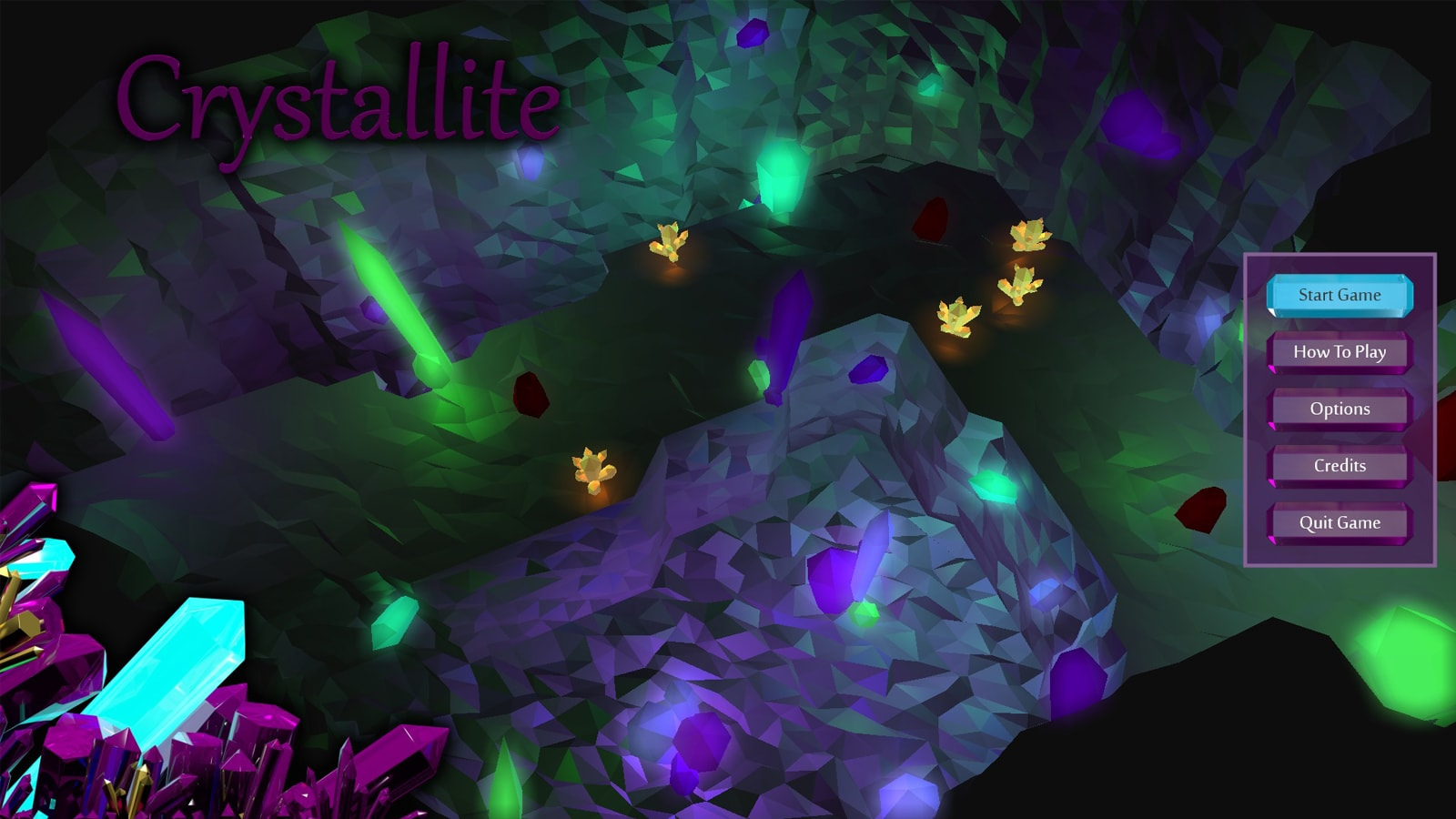 The game's menu screen, along with an overview of a crystal cavern.