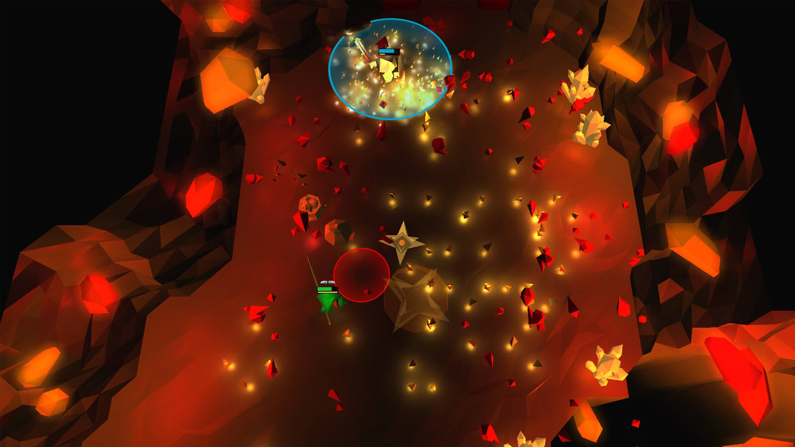 A green and yellow player fight in a red cavern full of crystal shards.