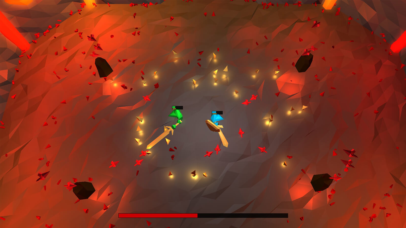 A red and blue player wield large swords in a red cavern.