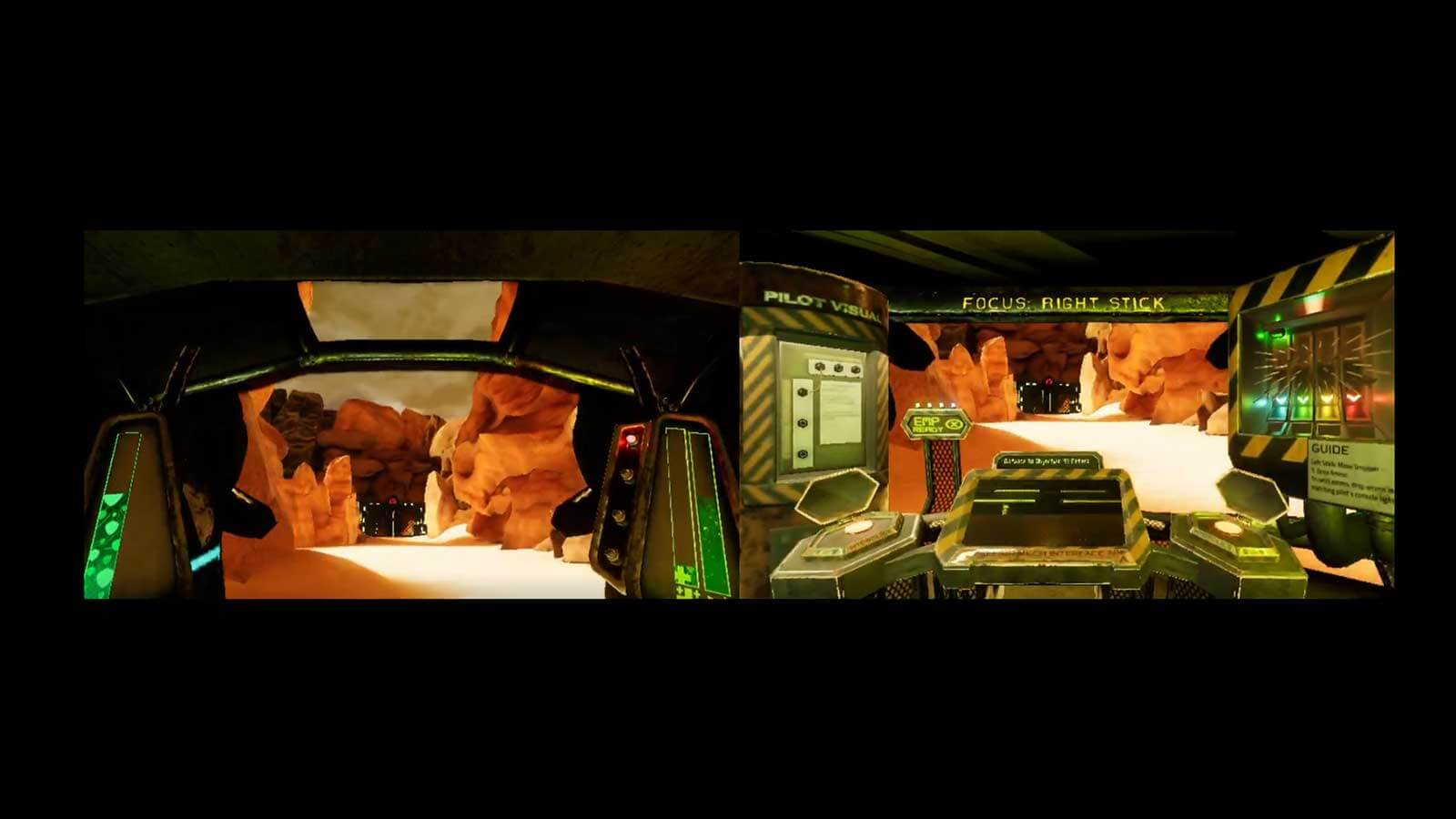 Side-by-side view of mech suit piloting cockpit and engineering controls