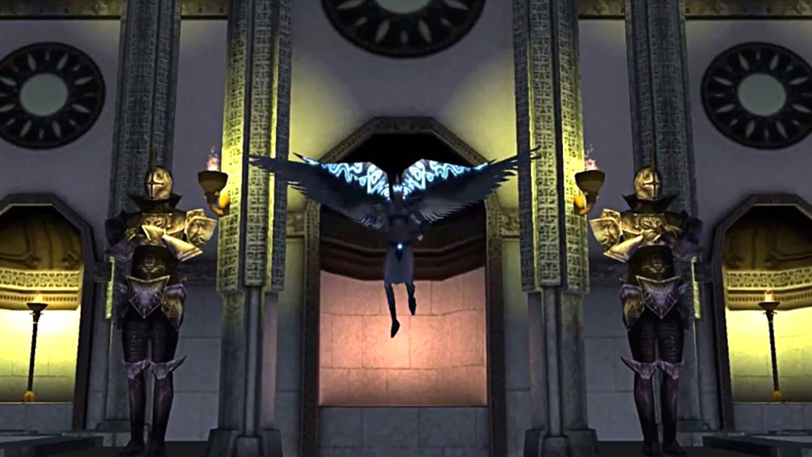 A winged supernatural being floats in front of an ornate stone edifice flanked by knights.
