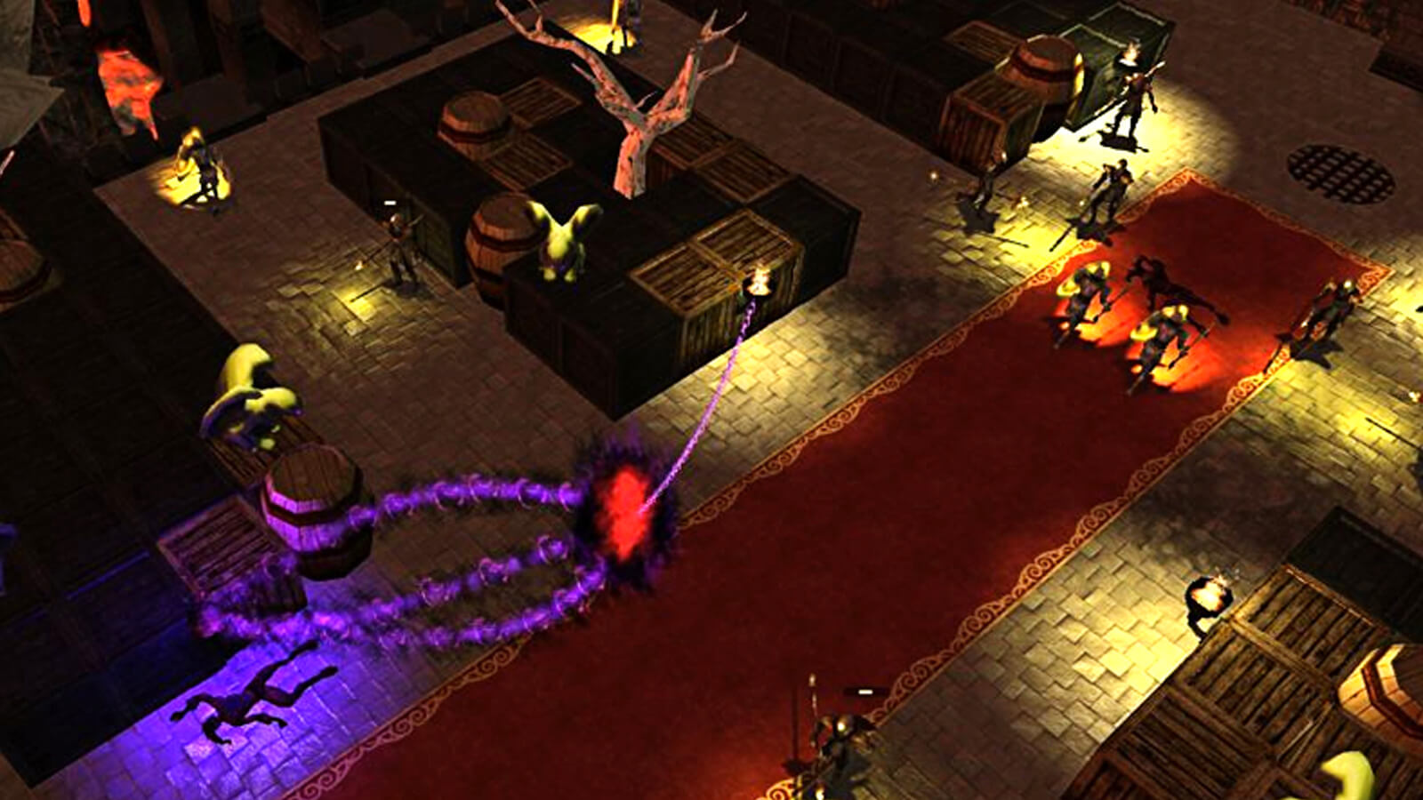 A purple spectral arrow shape points down an elevated stone pathway.