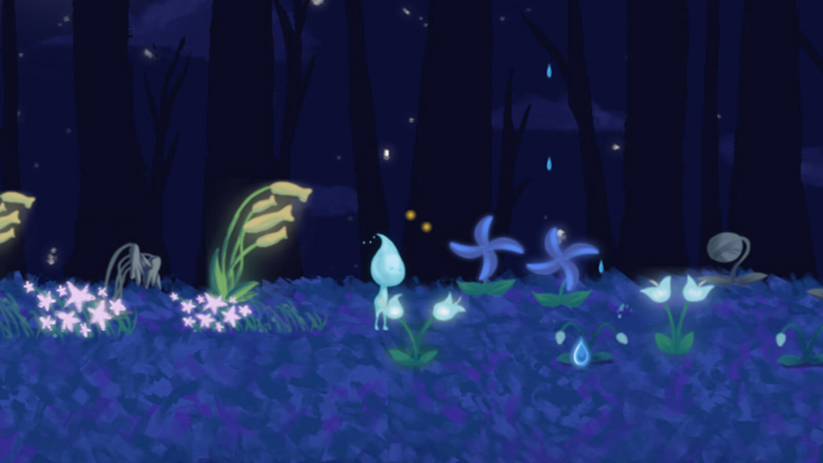 Douse, the raindrop main character of the game, walks among the flowers.