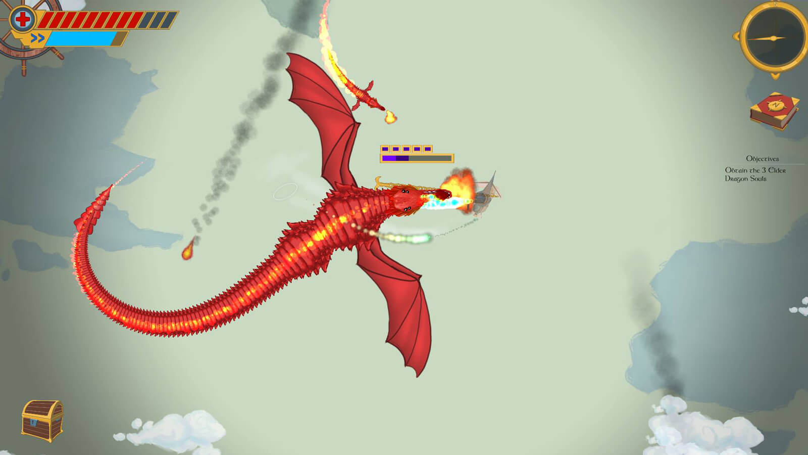 A red dragon breathing fire flies next to a much smaller red dragon also breathing fire, both attacking your airship.