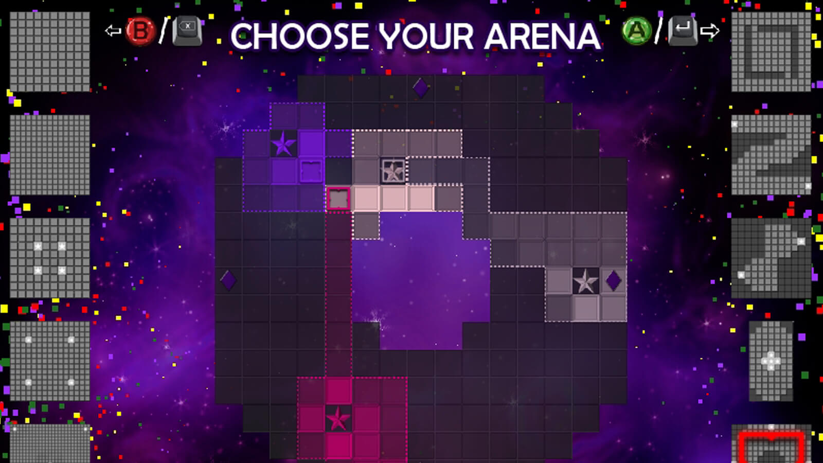 Pink, purple, and grey squares compete for grid space.