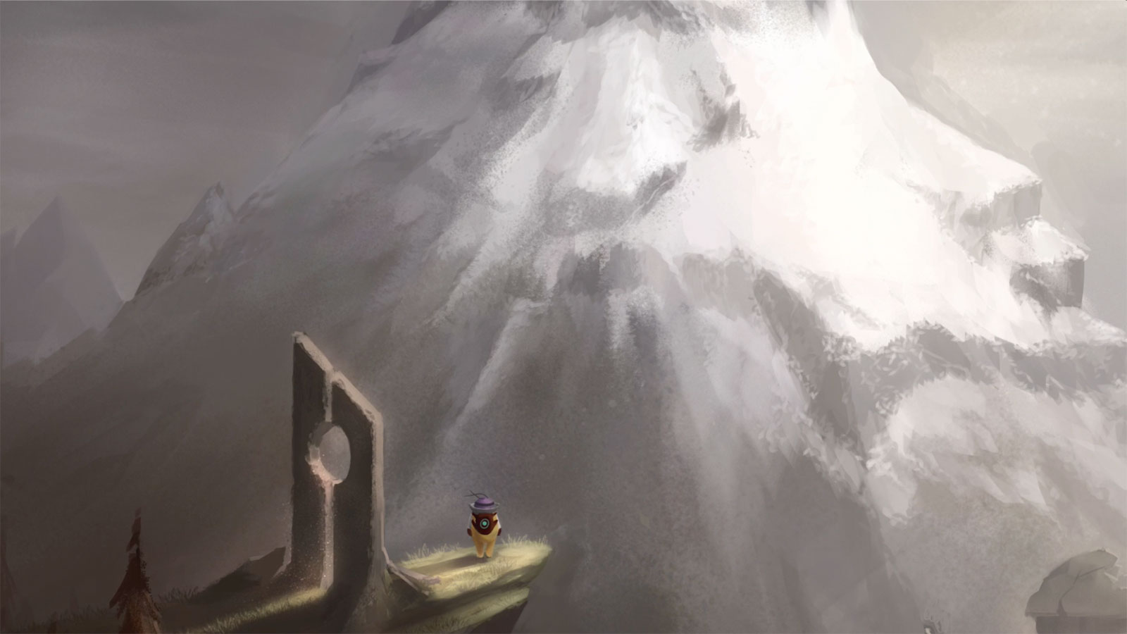 Pilot character stands on a precipice before a large mountain.
