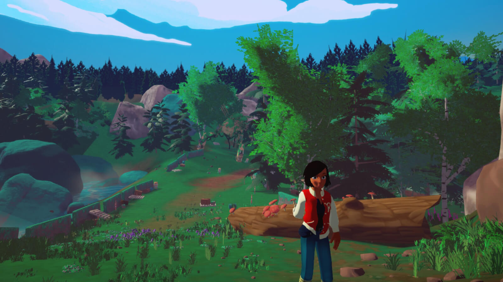 Elegy's main character, Robin, walking up a hill in a forested landscape