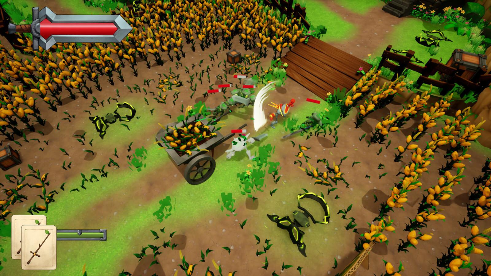 Robot knight battles goblins