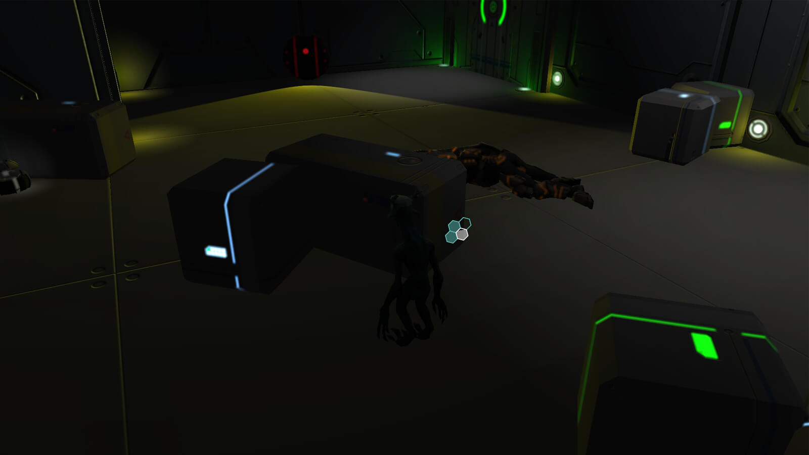 An alien hides behind a glowing box in the darkness, a dead soldier's body in the foreground.