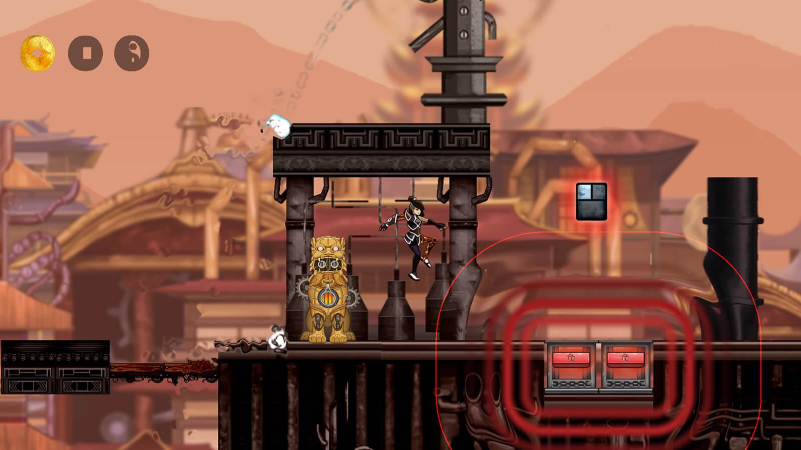 The half-automaton hero jumps through an Asian steampunk landscape.