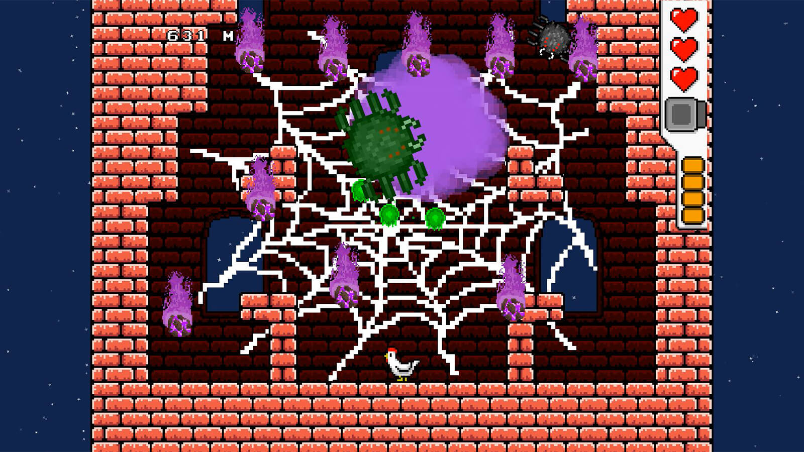 A chicken stands at the bottom of a tower as a giant green spider shoots fireballs and meteors.