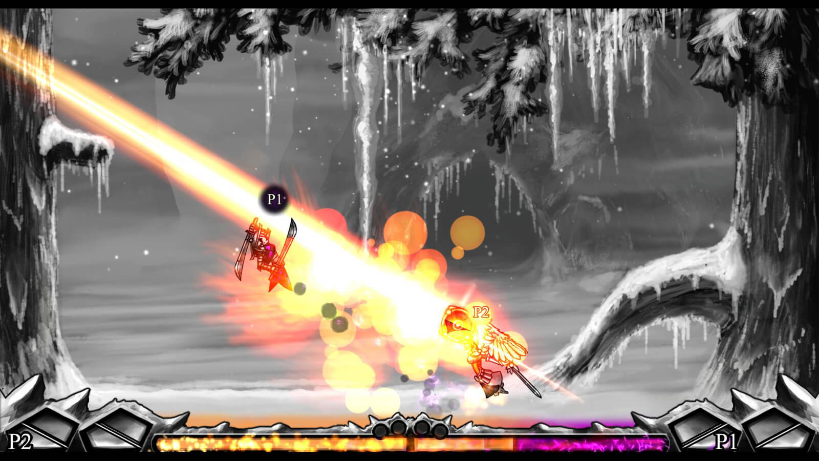A winged character blasts their opponent with an orange beam of light.