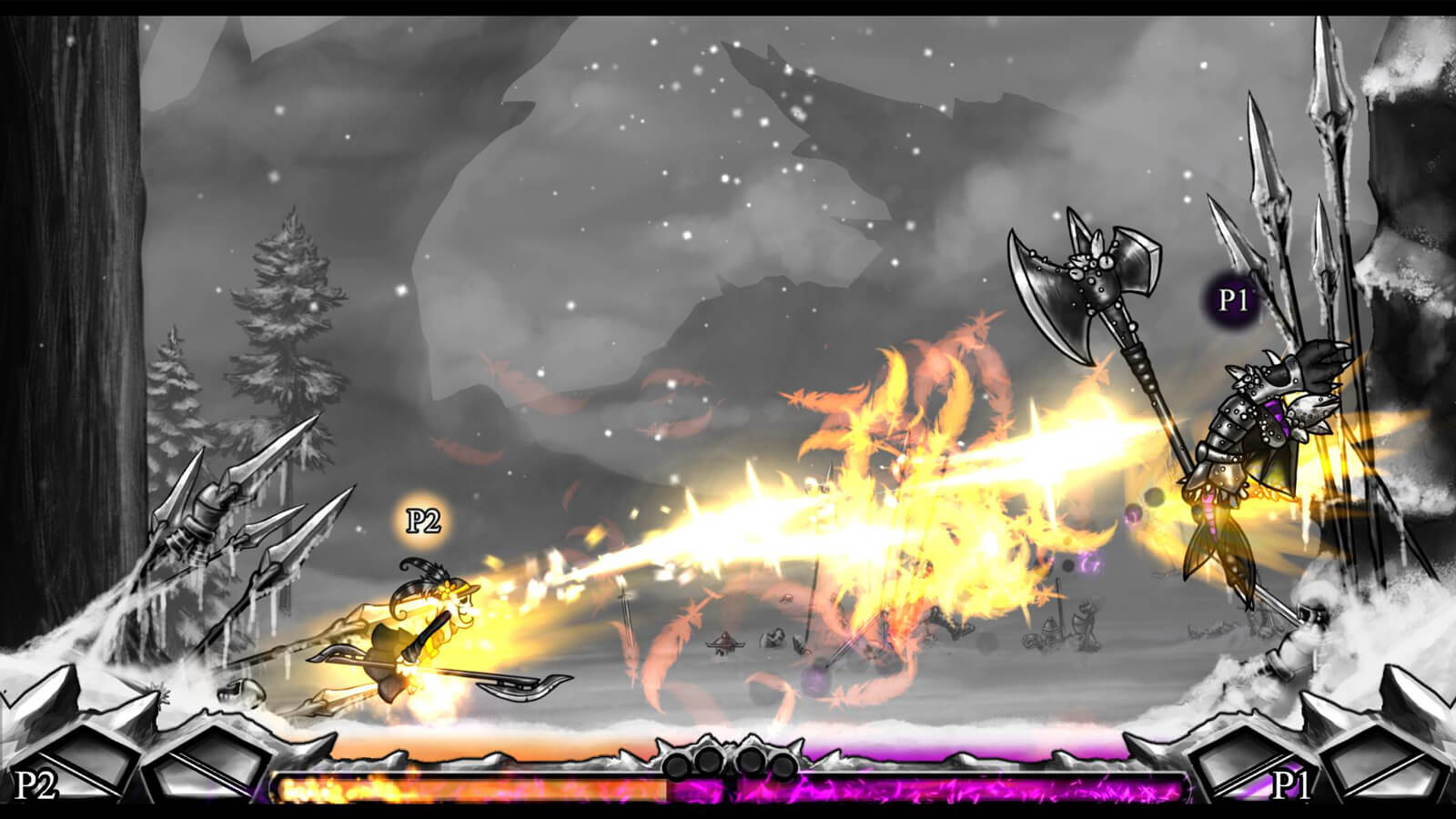 A fighter with a feathered cap attacks their opponent with an orange, feathery beam.