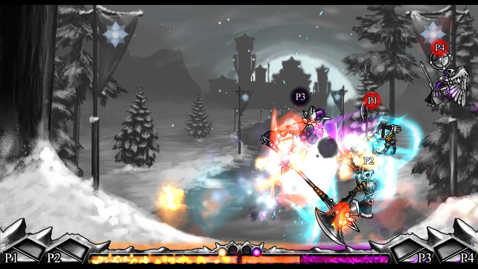An axe-wielding fighter attacks two players at once in a snowy landscape.