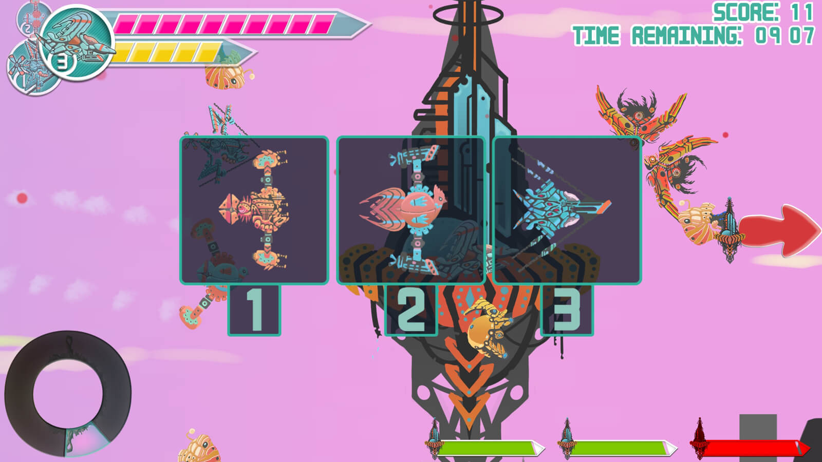 A selection screen showing the three alien spaceships the player can choose from.