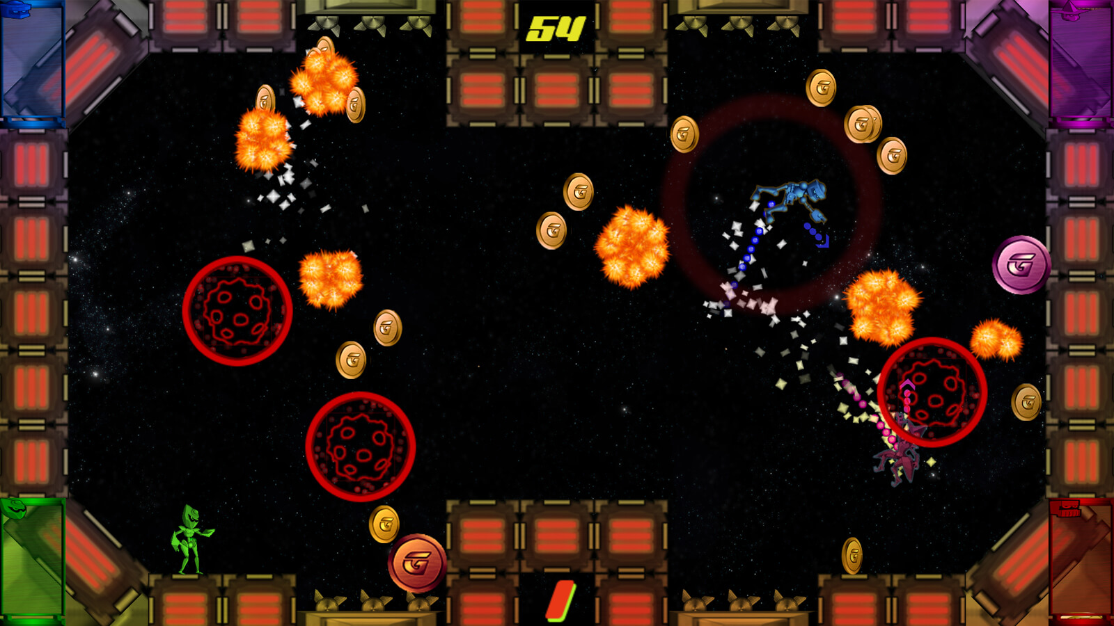 A green, blue, and pink robot duke it out in the arena, while explosions, coins and asteroids litter the screen.