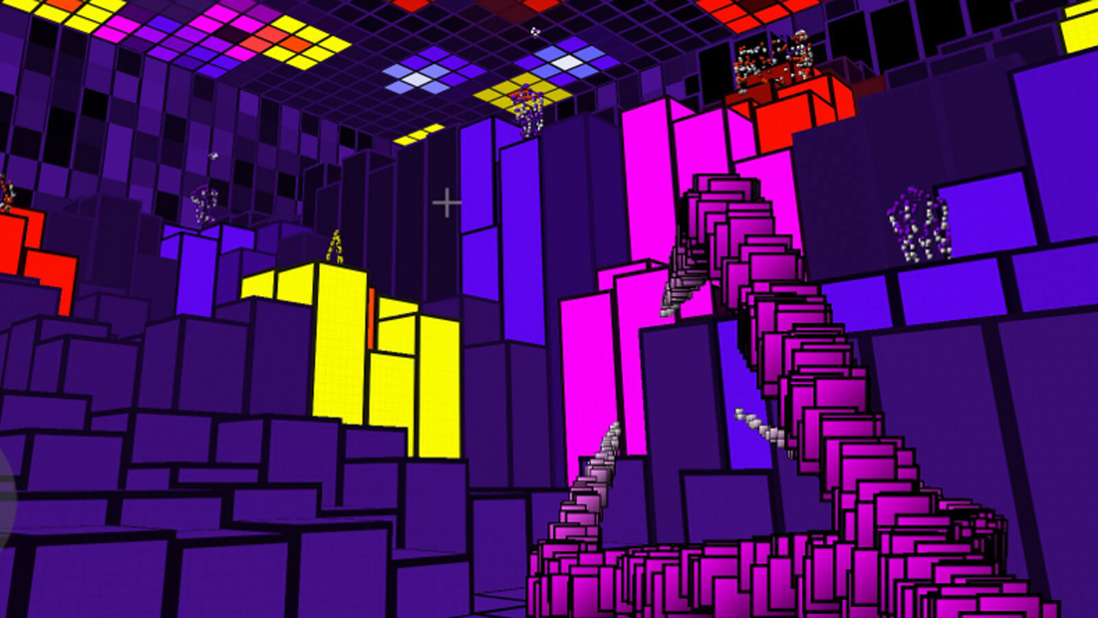 The player aims a claw-like weapon composed of hundreds of cascading purple squares