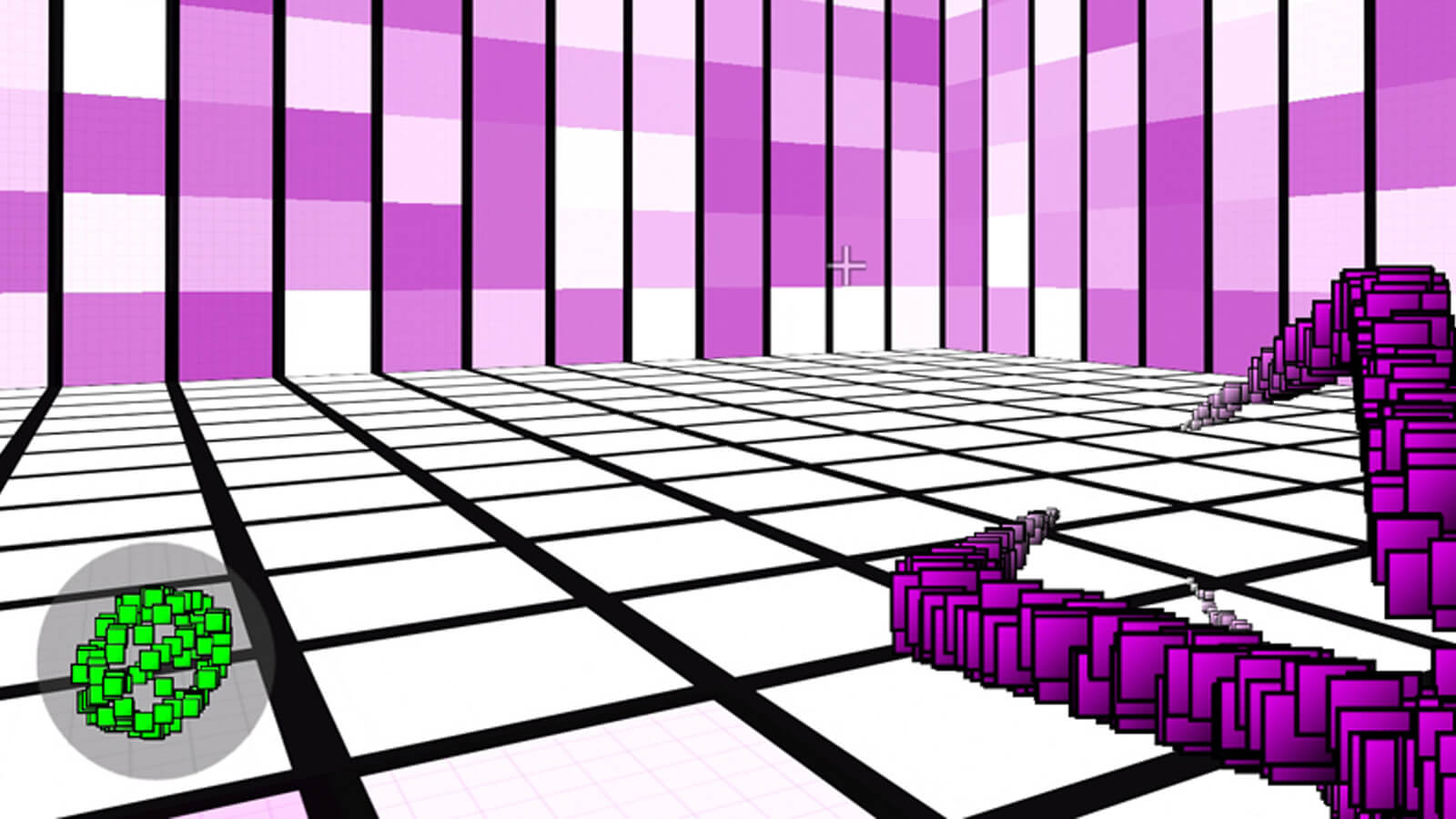 A grid-based room composed of white, pink, and purple squares