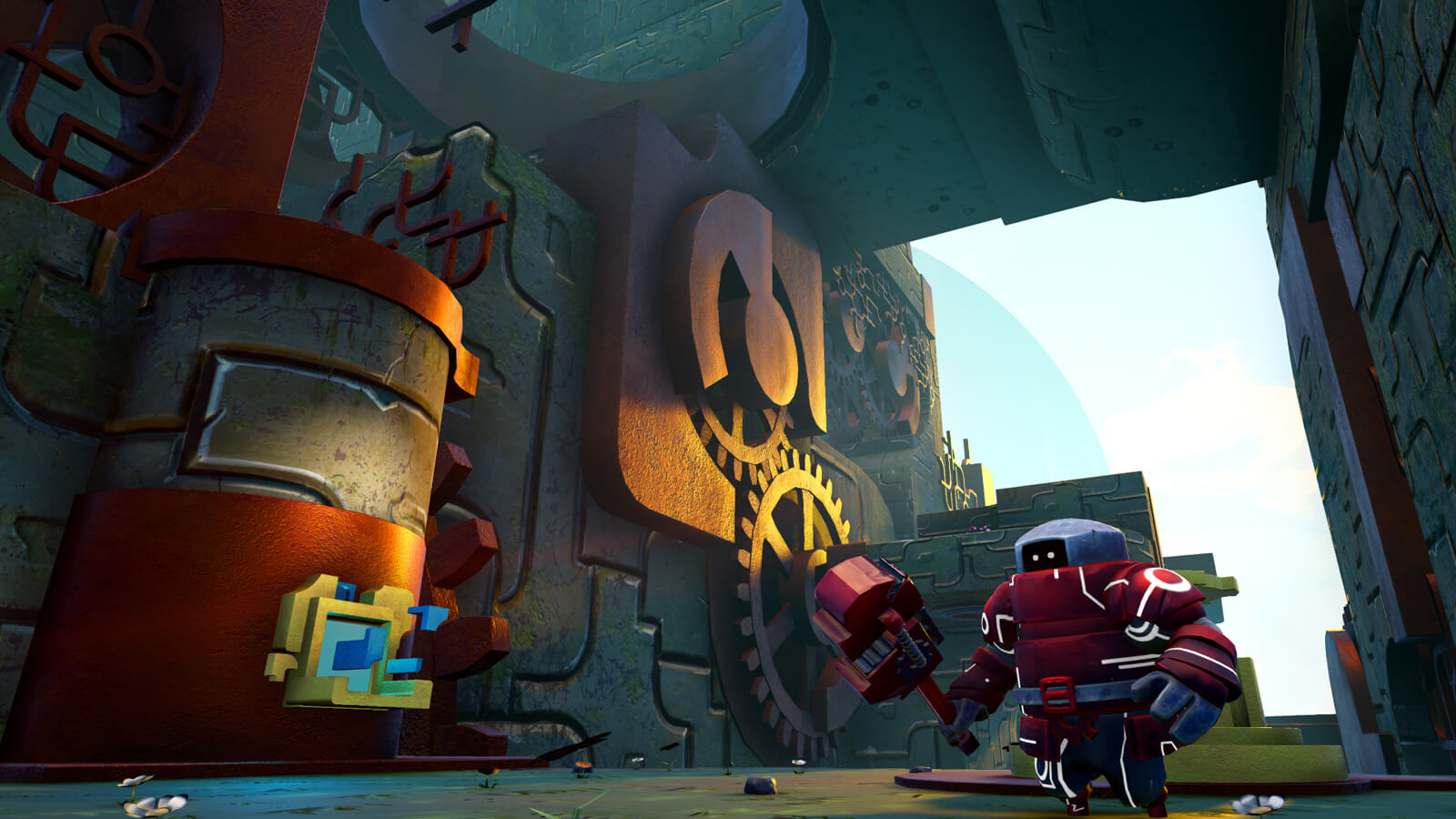 A red robot guardian wields a blocky red wrench in a stone tunnel covered with large gears.