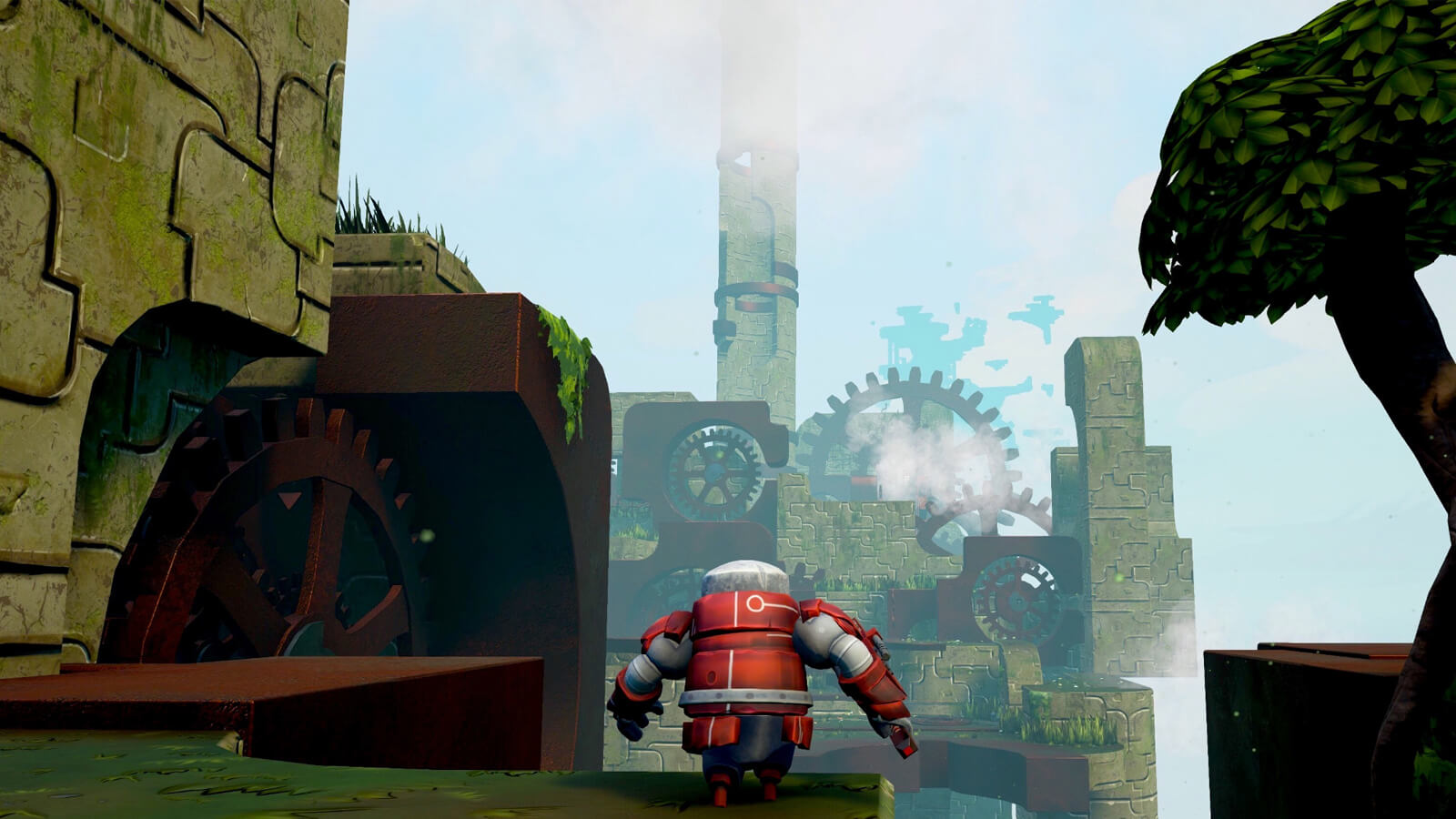 A red robot approaches the edge of a platform, an enormous, gear-powered stone structure in the distance.