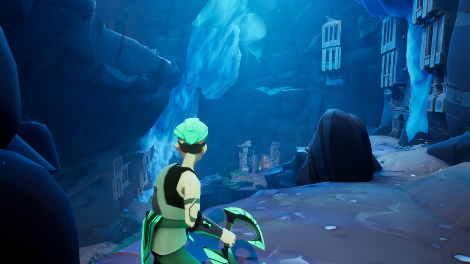 Monk explores an underground city in ruins
