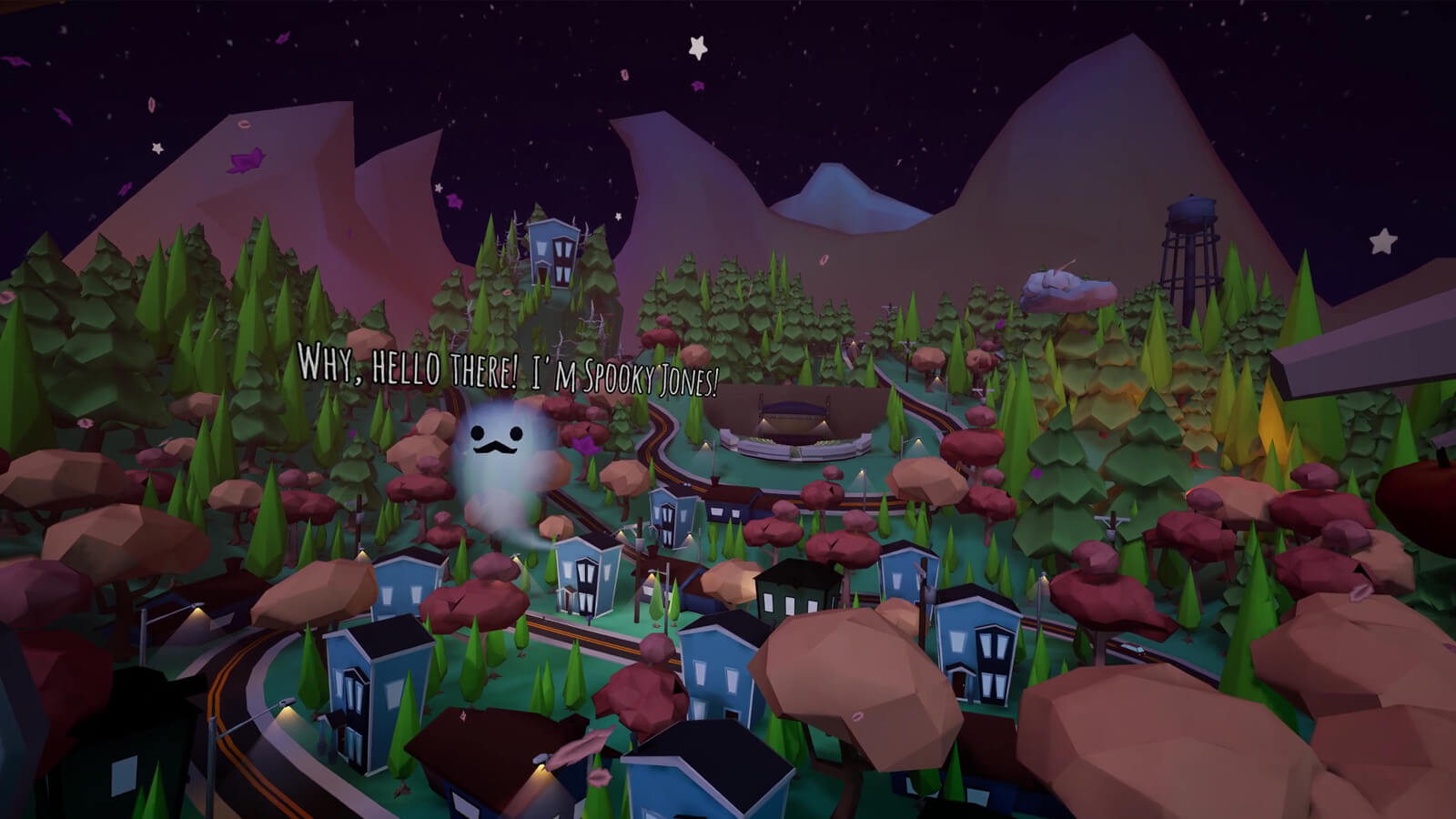 Spooky Jones the ghost greets the player hovering high above Redleaf Hollow.