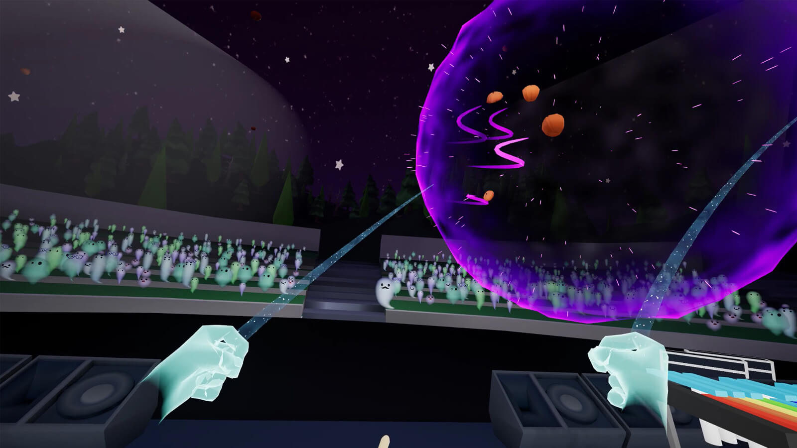 The players throws four pumpkins in a giant purple orb across a crowd of ghosts in an amphitheater.