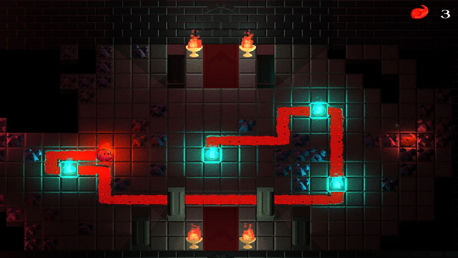 A red trail shows the path of a flame gooey as it moves through a gridded room.